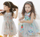Summer Kids Toddlers Girls Clothing Flowers Sleeveless Doll Collar Dress Sz2-8Y