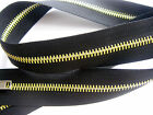 NOVELTY! BLACK ZIP WITH YELLOW (VARNISHED METAL TEETH OPEN ENDED (FROM 80-45 cm)