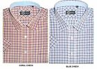 CARABOU COTTON BLEND SHORT SLEEVED WINDOW CHECK(03) IN SIZE SMALL-XXL, 2 COLORS