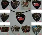 New AEROSMITH Guitar Pick Necklace , Four-leaf Clover Lucky Leather Cord