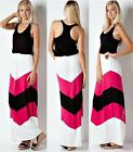 CHEVRON STRIPED BOHEMIAN MAXI DRESS Boho Long Sundress Soft Racer Back S M L