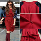 New women Puff long sleeve Patchwork Lacing go to work Casual midi dress S M L