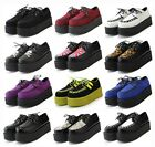 Womens Punk Gothic Rock Double Platform Creepers Shoes 12 Styles