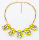 New Trendy Jewelry Colored Crystal Daisy Flowers Bee Chunky Statement Necklace