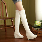 Sexy Womens Over The Knee High Leg High Heels Pull On Boots Wedge Platform Pumps