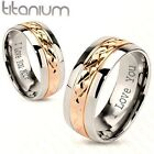 ENGRAVED Stainless Steel Rose Gold and Silver Couple's Ring Engraved Free