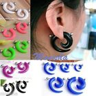 Pair Acrylic Fake Cheater Spiral Taper Barbell Earring Plug Expander Piercing