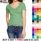Basic V-Neck T Shirt Solid Color Plain Top Stretch Layer Fitted Women Blank 3009