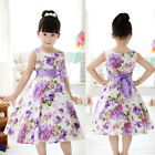 Chic Girls Kids Princess Wedding Party Purple Flower Bow Gown Full Dresses 2-11Y