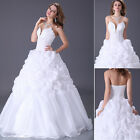 Sweet Bridal Wedding Dress Gown Bridesmaid Prom Long dress White 6 8 10 12 14 16