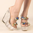 Women's Clear PVC Shoes Beads Sandals Platform Wedge High Heels Slippers Pumps