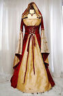 Renaissance Medieval Game Costume lady Cosplay party Dress Gown Cape Hoodie size