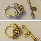 5 x Silver/Gold Rose Toggle Clasps
