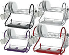 2 TIER DISH RACK DRAINER DRIP TRAY PLATES CUTLERY CUP HOLDER COLOUR CHROME PLATE