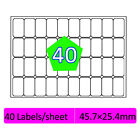 40 Labels Per A4 Sheet Address Labels Self Adhesive Sticky Peel Priter Inkjet