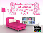 frozen wall art sticker elsa anna  sisters hearts
