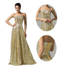 Golden Charming Long Evening Wedding Party Bridesmaids Prom Pageant Dresses Gown