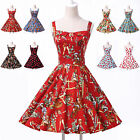 8Color Retro 50s Sleeveless Short Swing Pinup Evening Rockabilly Party Dress JS