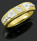 Men Two Tone Gold Plated Solid Real 925 Sterling Silver Band Ring Cubic Zirconia