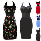 Printed Rockabilly Pin Up VTG 1950s Prom Housewife Pencil Party Dresses EVENING