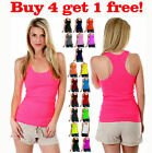Womens Seamless Ribbed Racer Back Stretch Tank Top Yoga Camisole Tee Sport Shirt