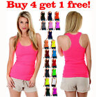 Womens Tank Top Ribbed Racer Back Scoop Neck Yoga Cami Fitness Tee Shirt New