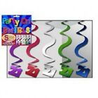 21st BIRTHDAY HANGING SWIRL DECORATIONS ~ 5 PACK - Assorted or Magenta