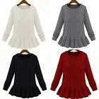 Winter Woman Pure Color Twist Round Neck Sweater Knitwear Pullover HFUK