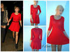 Primark Red  Three Quarter Sleeve Skater Dress Size