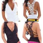 Personality Woman Simple V Neck Backless Lace Sleeveless Camisole Glam Vest