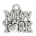 "Wholesale Lots Charm Pendants ""New York"" Apple Silver Tone 14mmx15mm(4/8""x5/8"")"