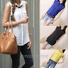 Fashion Women Lapel Chiffon Sleeveless Shirts Vest Tunic Pleated Top Blouse hot