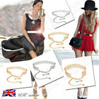 WOMEN FULL HOT METAL WAIST MIRROR WIDE GOLD PLATE CHAINS WAISTBAND METALLIC BELT