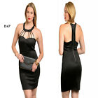 D47 New Womens Black Mock Halter Bodycon Racer Back Club Party Pencil Sexy Dress