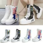 Womens Stylsih Punk Creeper Chunky Heels Lace Up Canvas Mid Calf Sneaker Boots