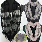 Fashion Women's Floral Hollow Out Net Infinity Loop Cowl Eternity Casual Scarf