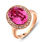 Size M,Q,S Party Cocktail Ring Swa Crystal Ring Gold Plated Fashion Pink Ring