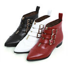 Cute Womens Gothic Pointy Toe Belt Buckle Ankle Boots Block Mid Heel Punk Shoes