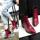 Hot Sale Women Goth Pointed Toe Chunky Heels Ankle Boots Shoes plus Size