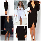 Celebrity Plunge Neck Wrap Dress in Midi 10UK/6USA/10AUS/38EU TOWIE Style