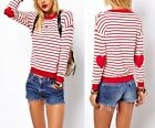 BN Womens Casual Stripe Round Long Sleeve Pullover Knitwear Knit Sweater Tops