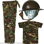 BOYS ARMY OUTFIT KIDS TROUSERS HELMET T-SHIRT DRESS UP FANCY DRESS MILITARY WW2