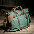 Vintage Retro Women's Canvas Leather Weekend Shoulder Bag Duffle Travel Tote Bag