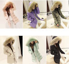 NEW Women Thick Winter Warm Real Duck Down Good Slim Big faux Fur Collar Coat