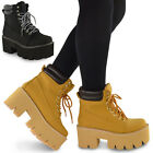 LADIES WOMENS CHUNKY CLEATED SOLE PLATFORM LACE UP WORKER ANKLE BOOTS SHOES PUNK