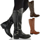 LADIES WOMENS FLAT LOW HEEL MID CALF KNEE HIGH RIDING BIKER WINTER BOOTS SHOES