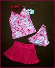 GIRLS TOGS 8 9 or 10  PINK 3pc HEARTS TANKINI SET w/ Skirt  Swimwear NEW Bathers