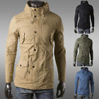 FASHION DESIGN Men's WINTER Slim Fit Military Trench Coats Jackets Windbreaker