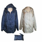 WOMENS LADIES SPOTTED KAGOOL IN BAG WATERPROOF  POLKA DOT  RAIN COAT MAC JACKET