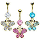 14k Gold Plated 3 Colors Butterfly Multi CZ Gems Dangle Belly Button Navel Ring